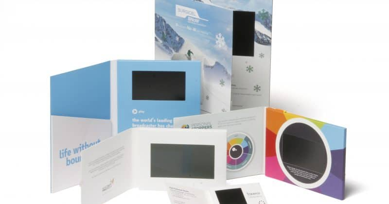 "This image shows a group of video brochures ranging in screen size from 2.4"" to 10.0""."