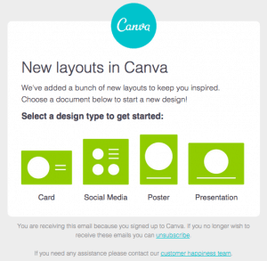 Canva launched a direct email marketing campaign to promote their software as a service product.