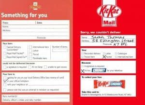 Kit Kat sent out a royal-mail-inspired flyer that stated the free Kit Kat Chunky chocolate bar