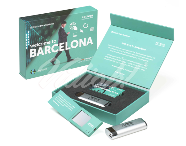 This image shows a Barcelona video box that includes a 2.4 inch video business inside of a video presentation box.