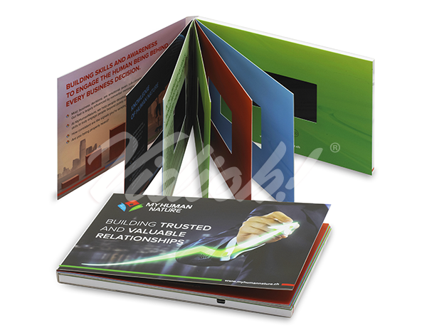 This 4 inch video brochure has additional pages that enables the customer to place additional emphasis on their video brochure artwork